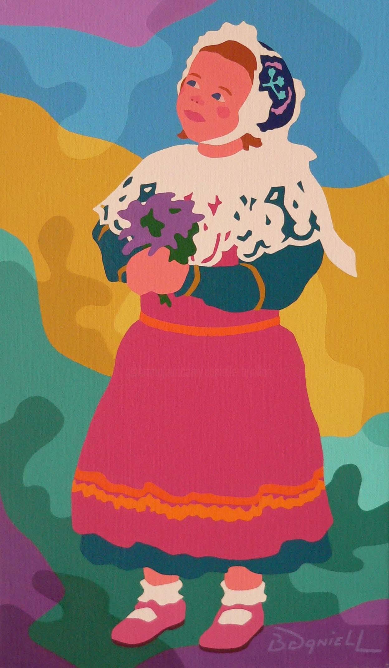 Danielle Braillon (DANIELL) - La petite fille au tablier rose