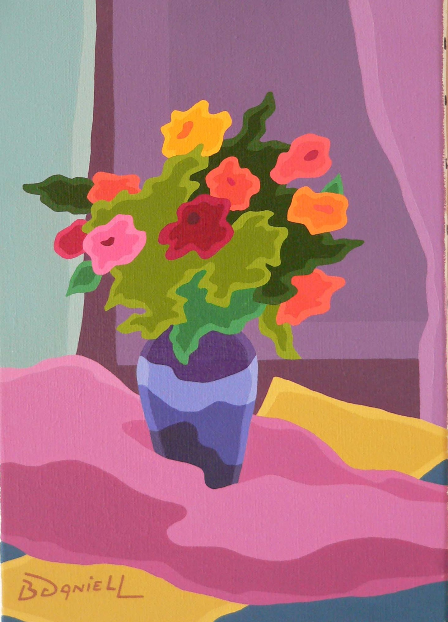Danielle Braillon (DANIELL) - Bouquet au vase bleu