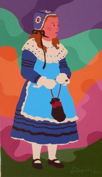Petite fille au tablier bleu